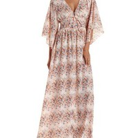 Natural Combo Floral Print Bell Sleeve Maxi Dress