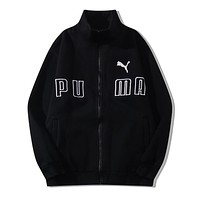 PUMA New fashion embroidery letter couple long sleeve coat cardigan Black