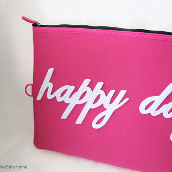 Hand Cut Happy Day Fuchsia Padded Pouch. Hot Pink Ipad Case Laptop Pouch. Document Zipper Pouch
