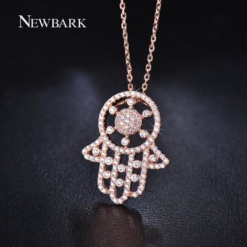 NEWBARK Trendy Classic Hamsa Design Palm Necklaces & Pendants With Paved Tiny CZ Diamond-Jewelry 18K Rose Gold Plated Necklace