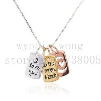 "2015 New Inspirational Tri Colored Silver Yellow, Rose Gold ""I love you to the moon and back"" Open Hearts Charm Pendant Necklace"
