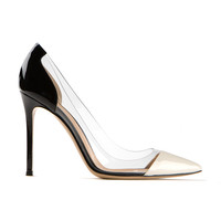GIANVITO ROSSI OFF WHITE AND BLACK PATENT LEATHER PLEXI PUMPS