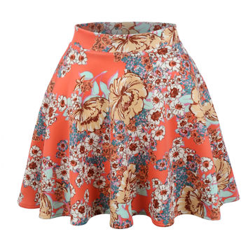 LE3NO Womens Versatile Floral Print Flowy Skater Skirt (CLEARANCE)