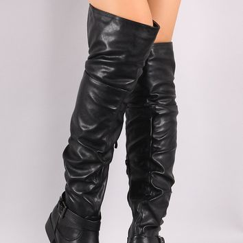 Slouchy Ankle Buckle Straps Over The Knee Flat Boot