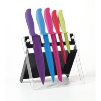 Farberware 6-Piece Classic Color Series Non-Stick Resin Knife Set with Stand