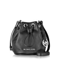 Michael Kors Designer Handbags Jules Black Soft Leather Drawstring Crossbody Bag