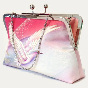 "Pink Silk Clutch Purse With Phoenix Bird Design, Bridal Silk Clutch In Shades Of Pink, Purple And Blue, Made From Japanese Silk 9"" x 5.5"""