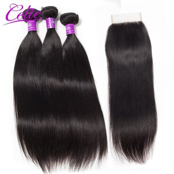 Celie Hair Straight Peruvian Hair Bundles & 4*4 Lace Closure 3 Bundles Remy Hair Weaves 100% Human Hair Bundles With Closure