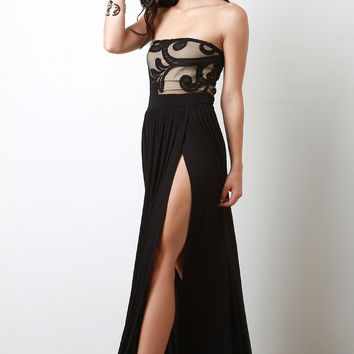 Mesh Contrast M Slit Maxi Dress