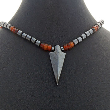 Hematite Arrowhead Horn Mens Necklace, Handmade Hematite Arrow Necklace for Man, Guys, Dads, Boyfriends, Mens Accessory