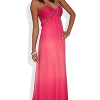 Strapless Long Prom Dress with Ombre and Chunky Stone Bodice