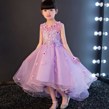 Glizt Appliques Girls Wedding Dresses Traling Violet Tulle Princess Costume Girls Formal Ceremonies Party Birthday Pageant Dress