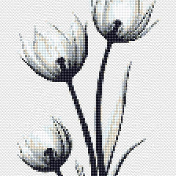 Modern Cross Stitch Printable PDF Pattern Tulip Flower, Floral Black and White Embroidery Nedlepoint Wedding Gift Natural Wall Art DIY Gift