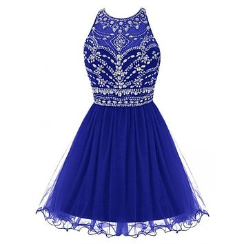 Hot Royal Blue Crystals Cocktail Dresses Sexy O Neck Mini A Line Tulle Girl Party Gowns Dress 2017 Good Design