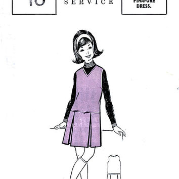 1960's Girls' Pinafore Dress Pattern - The People Pattern Service - Vintage Mail Order Sewing Pattern - Chest 29""