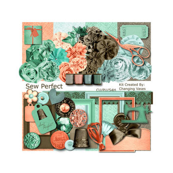 Digital Scrapbooking Kit, Sew Perfect, Seamstress Graphics, Sewing Clipart, Clip Art, Illustrations, Pictures, Designs