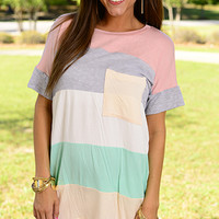 Out Of Pocket Top, Gray/Peach