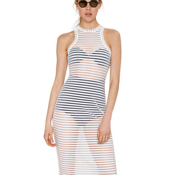 Cut Out Mesh Sleeveless Bikini Cover-up Midi Shift Dress