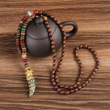 Nepal Buddhist Mala Wood Beads Necklaces Natural Stone Pendant Necklace Ethnic Horn Long Statement Necklace For Women Men
