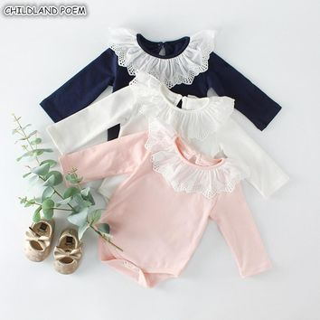 Baby Girl Romper Long Sleeve Baby Clothes For Girls Lace Newborn Baby Rompers For Girls Jumpsuit 100% Cotton Baby Boys Romper