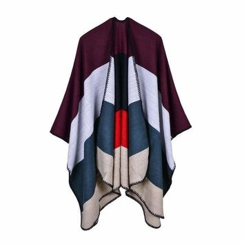 Plaid Winter Ponchos And Caps Thick Cashmere Scarf