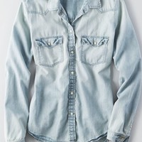 AEO Women's Western Denim Shirt (Medium Wash)