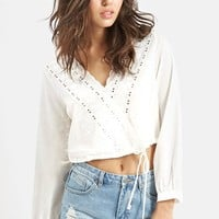 Women's KENDALL + KYLIE at Topshop Embroidered Surplice Top,