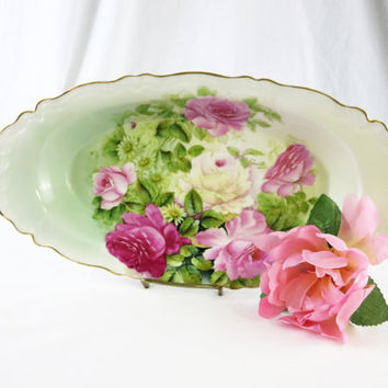 Elegant P T Tirschenreuth Bowl, Hand Painted Roses, Antique German Pottery, Bavarian Pottery, Serving Bowl, Dresser Dish, Dresser Bowl