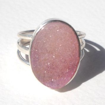 925 Sterling Silver Ruby Druzy Ring