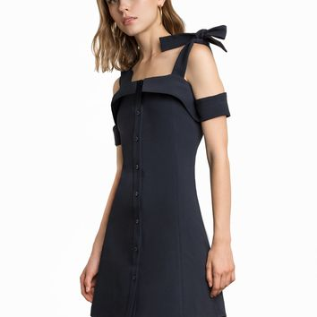 CAMDEN SHOULDER TIE NAVY DRESS