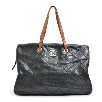 Authentic CHANEL leather Wild stitch Tote Bag