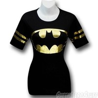 Batman Symbol Foil Juniors Athletic T-Shirt