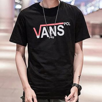 VANS Summer Women Men Letter Print Short Sleeve Round Collar T-Shirt Pullover Top Black