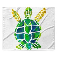 "Catherine Holcombe ""Turtle Love"" Green Teal Fleece Throw Blanket"