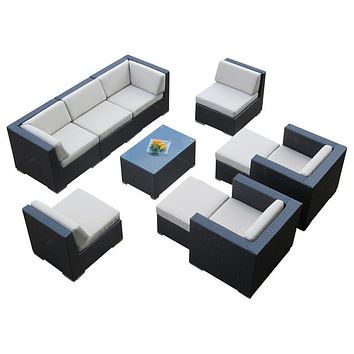 2016 Living Room Furniture Outdoor 9 Piece Black Deep Seating Sectional Sofa Set