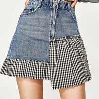 CHECKED DENIM SKIRT DETAILS