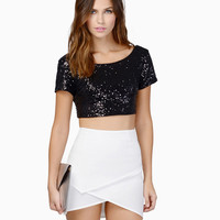 Black Sequined Short Sleeve Scoop Neckline Crop Top