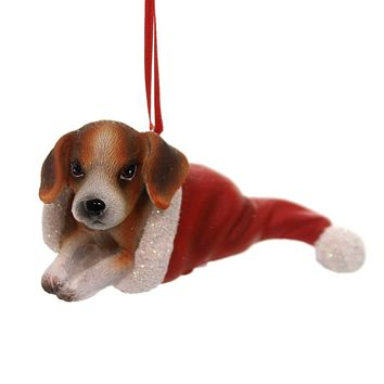 Holiday Ornaments PUPPY IN SANTA HAT Polyresin Best Friend Canine 131401 Beagle