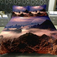 Anlye Beautiful Mountain Bedding Sets Set 2 Sides Printing Valleys Quilt Coverlet Clouds Bed Linens with 2 Matching Peaks Pillowcase Twin