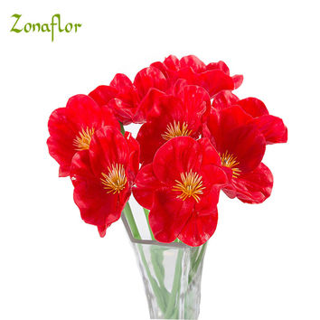 Zonaflor 20PCS/LOT PU Artificial flowers Mini Poppy Real Touch Wedding Decorative Fake Flower Home Decoration Accessories