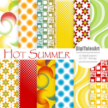 "Colorful digital paper ""Hot Summer"" digital clip art papers in red, blue, green, yellow, patterns, download, geometric background"