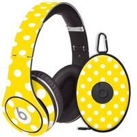 White Polka Dot on Sunshine Decal Skin for Beats Studio Headphones & Carrying Case by Dr. Dre