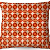 "DiaNoche Designs Julia Grifol Circles Red Home Decor Unique Designer Artistic Stylish Bedroom Ideas Woven Couch Throw Pillow, 22"" x 22"""