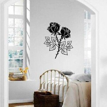 Wall Sticker Vinyl Decal Rose Flowers Plants Great Decor (ig1176)