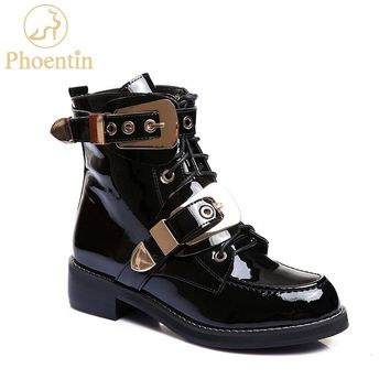 Phoentin black martin boots platform flat heels lace up ankle boots handsome metal buckle woman shoe punk genuine leather FT496