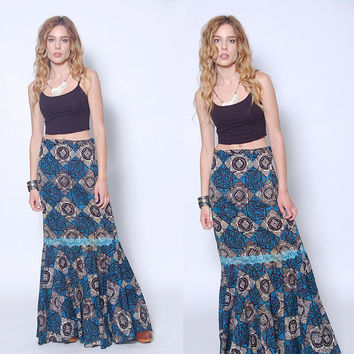 Vintage 70s Boho Maxi Skirt WAX PRINT Skirt Embroidered Mermaid Skirt AFRICAN Skirt Hippie Skirt