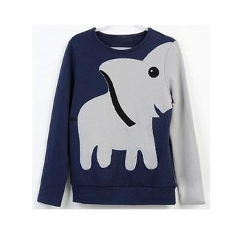 Fun Elephant Pattern Long-Sleeved Pullover Top Sweater