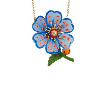 N2 by Les Néréides ENERGETIC BOTANY BLUE POPPY WITH DOT NECKLACE