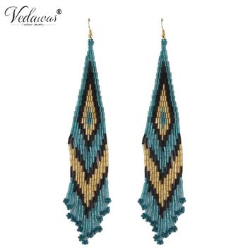 Vedawas Bohemia Statement Earrings For Women Jewellery Dangle Luxury Resin Beads Tassel Earring For Female Party Gifts xg1957