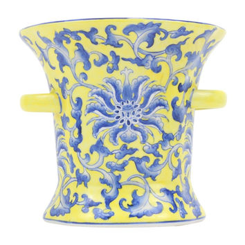 """Beautiful Yellow and Blue Floral Pattern Ring Cup Porcelain Vase 7"""""""